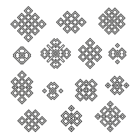 nirvana: Set collection of the endless knot or eternal knot designs. Black sign in different variations isolated on white background. Illustration