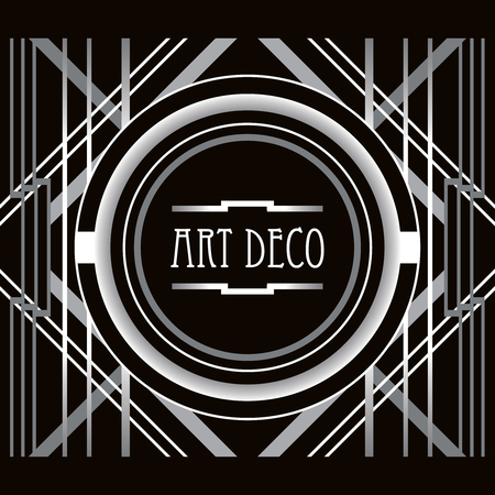 twenties: Art Deco style abstract geometric frame. Can use it for wedding invitation card, party posters, birthday postcards.