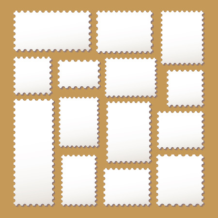 empty blank postage stamps different size in white color isolated on beige background with shadows.