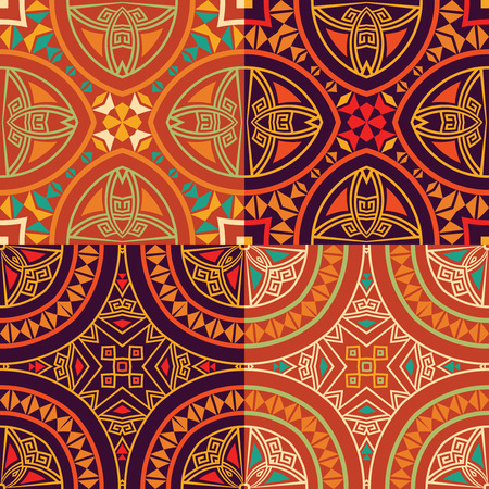 Set collection of four colorful tribal ethnic seamless patterns in orange, yellow, violet, red colors. Bright abstract textures. Vector illustration. Illustration