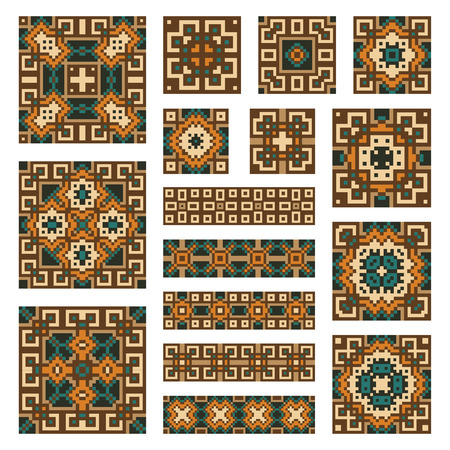 repetitive: Set collections of geometrical abstract ornaments. Orange, green,yellow borders and tiles isolated on the white background. Ethnic patterns. Vector illustrations.
