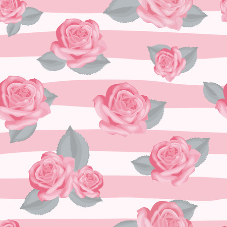 textil: Retro floral seamless pattern. Roses with leaves on pink and white striped background. Vector illustration.