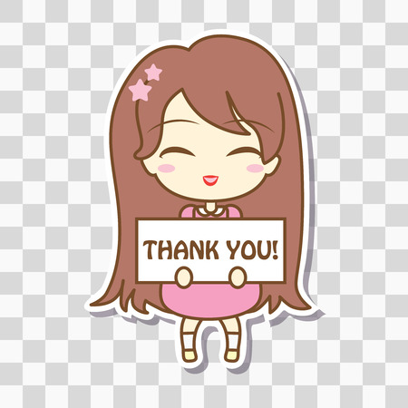 customizable: Cute girl holding frame with text. On blank checkered background, empty space . Vector illustration. Sticker design. Thank You. In pink pastel colors.