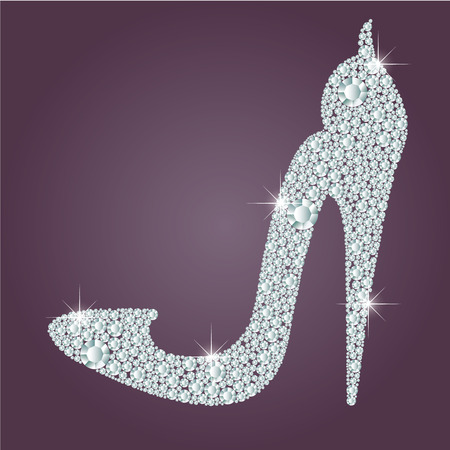 cinderella shoes: Elegant ladies high heels shoe shape, made with shiny diamonds. Isolated on the round gradient dark violet background. Vector illustration.