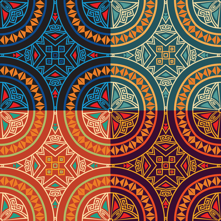 Set collection of four same colorful tribal ethnic seamless patterns in different colors. Bright abstract textures. Vector illustration.
