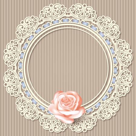 sfondo retrò con vuoto bianco telaio in pizzo centrino, realistica rosa su sfondo a righe beige. in colori pastello. per il saluto, biglietto d'auguri, invito a nozze. illustrazione vettoriale.