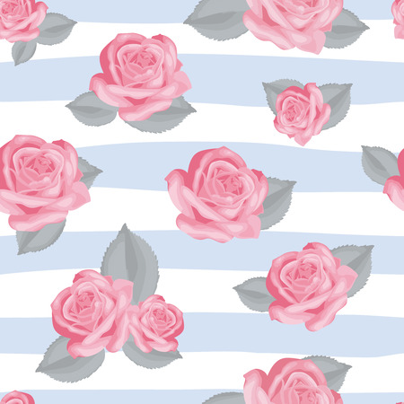 textil: Retro floral seamless pattern. Pink roses with leaves on blue and white striped background. Vector illustration.