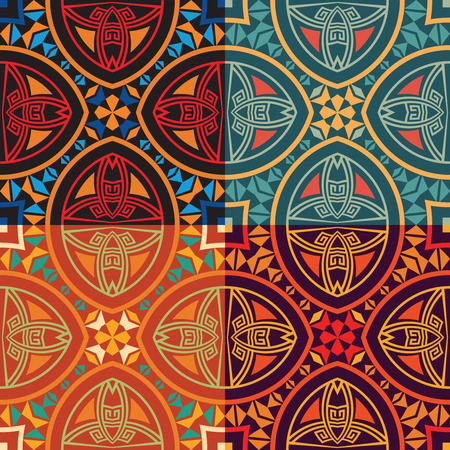 Set collection of four same colorful tribal ethnic seamless patterns in different colors. Bright abstract textures.