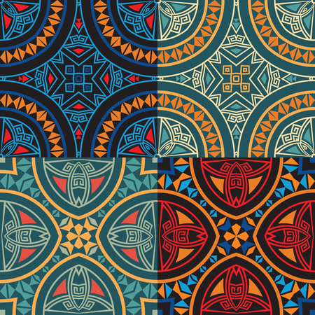Set collection of four colorful tribal ethnic seamless patterns in orange, yellow, blue, red colors. Bright abstract textures. Illustration
