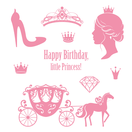 diadem: Princess Cinderella set collections. Crowns, diadem, carriage, woman profile, high-heeled shoe, text in pink color. Illustration
