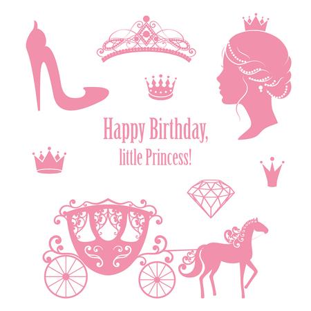 Princesse Cendrillon mis collections. Couronnes, Diadème, chariot, profil de femme, chaussures à talon haut, texte en couleur rose.