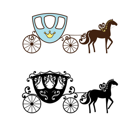 Beautiful vintage carriage silhouette with horse. Two different styles. Set collection.