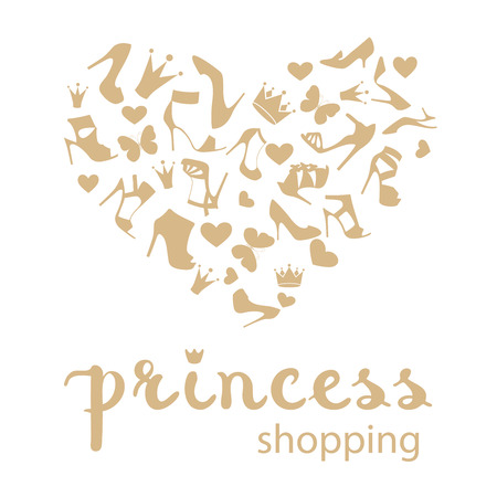 The heart is made from high-heeled shoes, crowns, butterflies in white and golden beige color. With calligraphy hand drawn design element. Handwritten modern brush lettering.