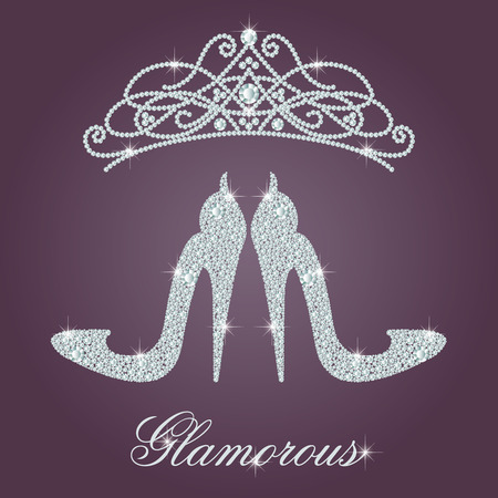 diadem: Glamour design elements. Elegant ladies high heels shoe shape, made with shiny diamonds. And crystals diadem. Isolated on the round gradient dark violet background. Illustration