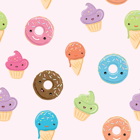 Seamless pattern with sweets in kawaii style. Ice cream, donuts, cupcakes isolated on pastel pink background. Иллюстрация