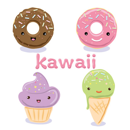 icecream cone: Cute Kawaii food characters - cupcake, ice-cream cone , donuts. Lovely doodle icons set collections on white background.