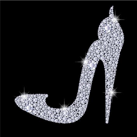 우아한 숙녀 하이힐 구두 모양, 반짝 이는 다이아몬드로 만들었습니다. 검정색 배경에 고립.