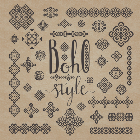 Border and decoration ethnic signs set with Boho style hand drawn lettering. Handmade calligraphy in black on cardboard texture craft paper background. For your ethnic design. Vector illustration.