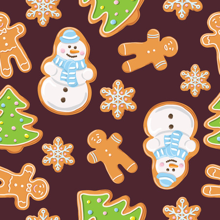 ginger bread: Christmas gingerbread seamless pattern. Ginger cookies on dark background. Vector illustration. Cute Xmas background for wallpaper, gift paper, pattern fills, textile, greetings cards