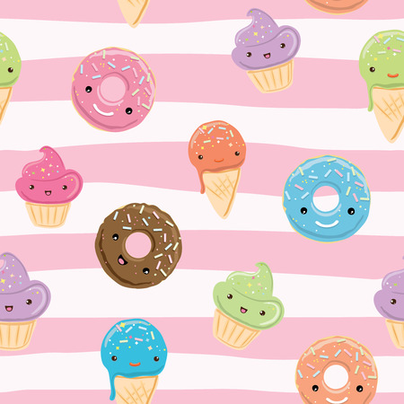 Seamless pattern with sweets - ice cream, donuts, cupcakes isolated on linear white and pink background. Can use for birthday card, the childrens menu, packaging, textiles, fabrics, wallpaper