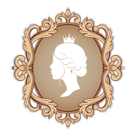 Elegance cameo with profile silhouette of a princess in a frame. Isolated on white background. Vector illustrations.