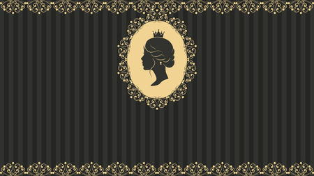 stripped: Vintage greeting card design. Antique postcards. Beautiful woman face silhouette in profile. Cute vintage frames with ladies silhouette. On linear black background Illustration