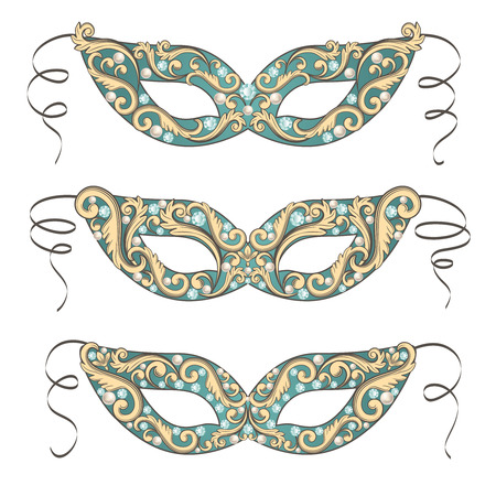 stage costume: Luxury masquerade mask set collection. Ornate carnival designs. Vector illustration.