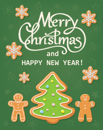 Greeting card with hand written calligraphic text Merry Christmas and Happy New Year with gingerbread shapes, isolated on green background. Illustration