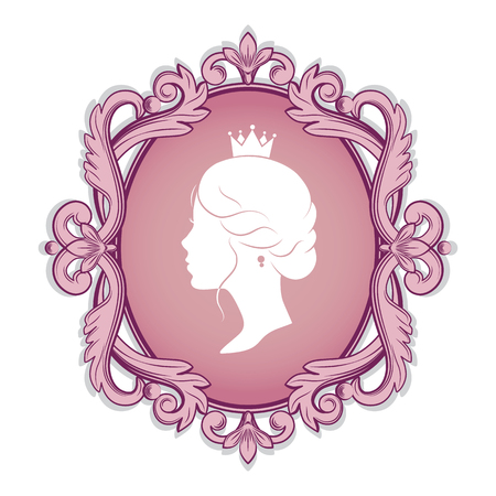 Elegance pink cameo with profile silhouette of a princess in a frame. Isolated on white background. Vector illustrations. Иллюстрация