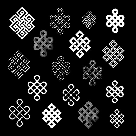 nirvana: Set collection of the endless knot or eternal knot. White sign in different variatons isolated on black background. Vector illustration.