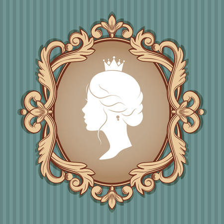 cameo: Elegance cameo with profile silhouette of a princess in a frame. Isolated on linear blue background. Vector illustrations.