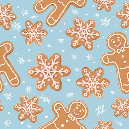 Padrão sem emenda de gengibre de Natal. Bolinhos de gengibre sobre fundo azul. Ilustração vetorial. Fundo de Natal bonito para papel de parede, papel de presente, preenchimentos de padrão, têxteis, cartões de saudações