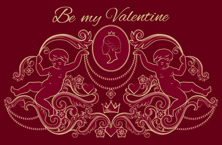 Happy Valentines day card in vintage rich royal style. Vector illustration. Illustration