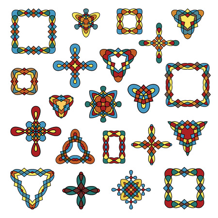 Celtic ornamental design elements. Set of different ethnic signs and frames. Multicolor geometric patterns isolated on white background. Vector illustration. Illustration