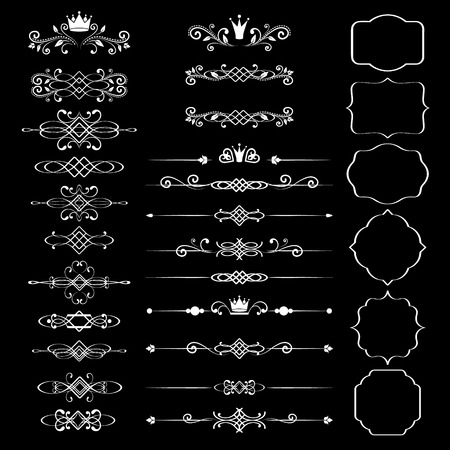 Floral design elements set, ornamental vintage frames with crowns in white color. Page decoration. Vector illustration. Isolated on black background. Can use for birthday card, wedding invitations.