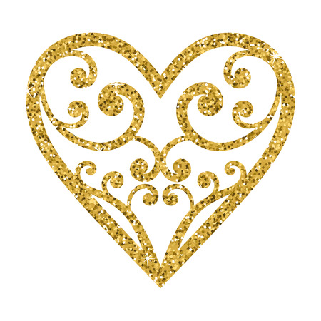 sequins: Ornamental glitter Valentines Day heart on a white background. Vector illustration. Beautiful design element for t-shirt design, save the date, wedding invitations.