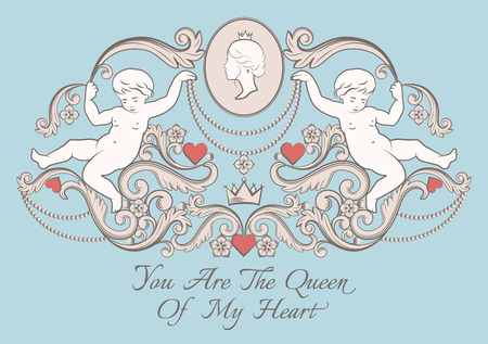 amore: Happy Valentines day card in vintage rich royal style. Vector illustration. Illustration