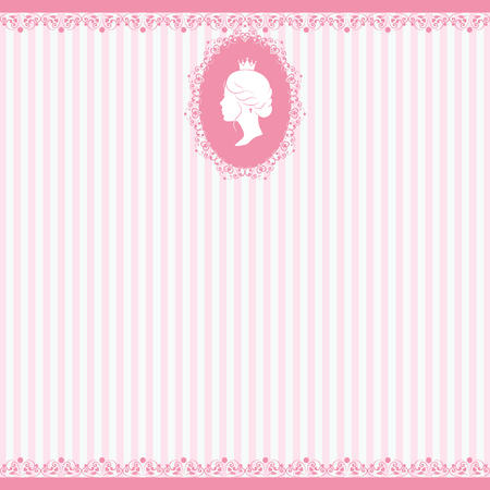 stripped: Vintage background design. Beautiful woman face silhouette in profile. Cute vintage frame with ladies silhouette. On linear pink background