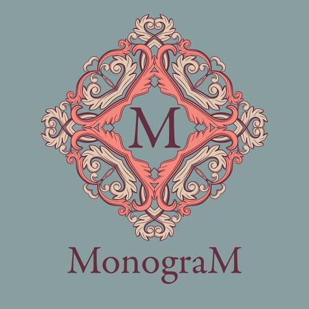 Vintage graceful monogram design template. Colored frame and letter isolated on vintage grey blue background. Vector illustration