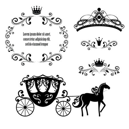 Design elements, vintage royalty frame with crown, ornamental style diadem, carriage in black color. Vector illustration. Isolated on white background. Can use for birthday card, wedding invitations.
