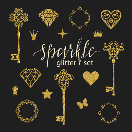 Set collection of golden glitter diamonds, hearts, stars, frames, butterfly and keys on black background. Vector illustration. Beautiful design elements for t-shirt design, cards, patterns, stickers.. Ilustrace