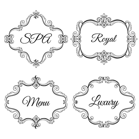 Set collection of ornamental vintage frames with sample text in black color. Vector illustration. Isolated on white background. Can use for birthday card, wedding invitations, restaurants menu, spa