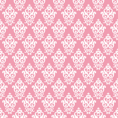 Seamless damask pattern. Pink texture in vintage rich royal style. Vector illustration. Can use as background for birthday card, wedding invitation, textile print, wallpapers, wrapping paper