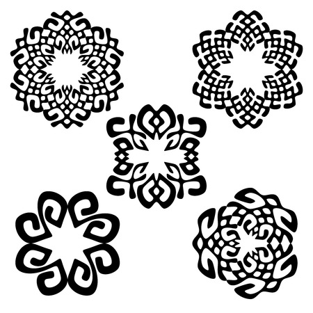 Set of different geometric ethnic signs.