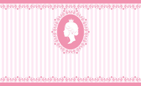 royal wedding: Vintage background design. Beautiful woman face in profile. Cute vintage frame with ladies silhouette. On linear pink background. Vector illustration. Stock Photo