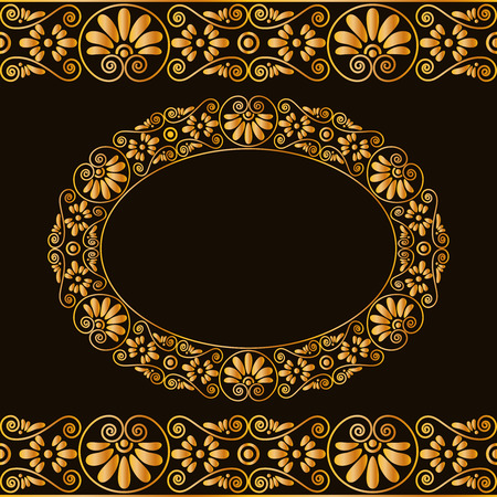 Empty round frame and borders. Greek traditional stylization. In gold color isolated on dark background. Vector illustrations.