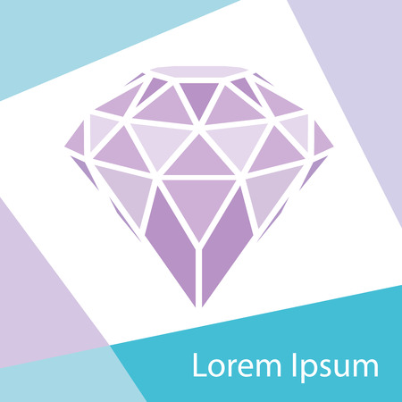 Geometrical purple diamond with frame background. Vector illustration. Beautiful design element for t-shirt design, cards, logos...