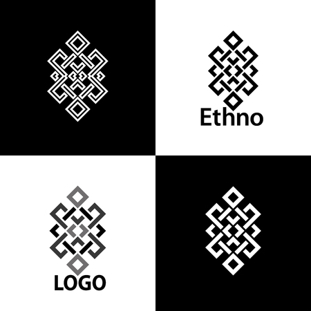 Set collection of the endless knot or eternal knot designs. Vector illustration.
