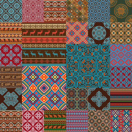 Pattern decoration elements in bright red, blue, brown, green, white... colors. Most popular ethnic seamless textures in one mega pack set collections. Multicolored vector illustrations. Illustration