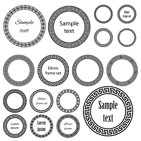 size: Ethnic round frames in mega pack. Decoration elements of different size with sample text in huge collection. Monochromatic vector illustration on white background